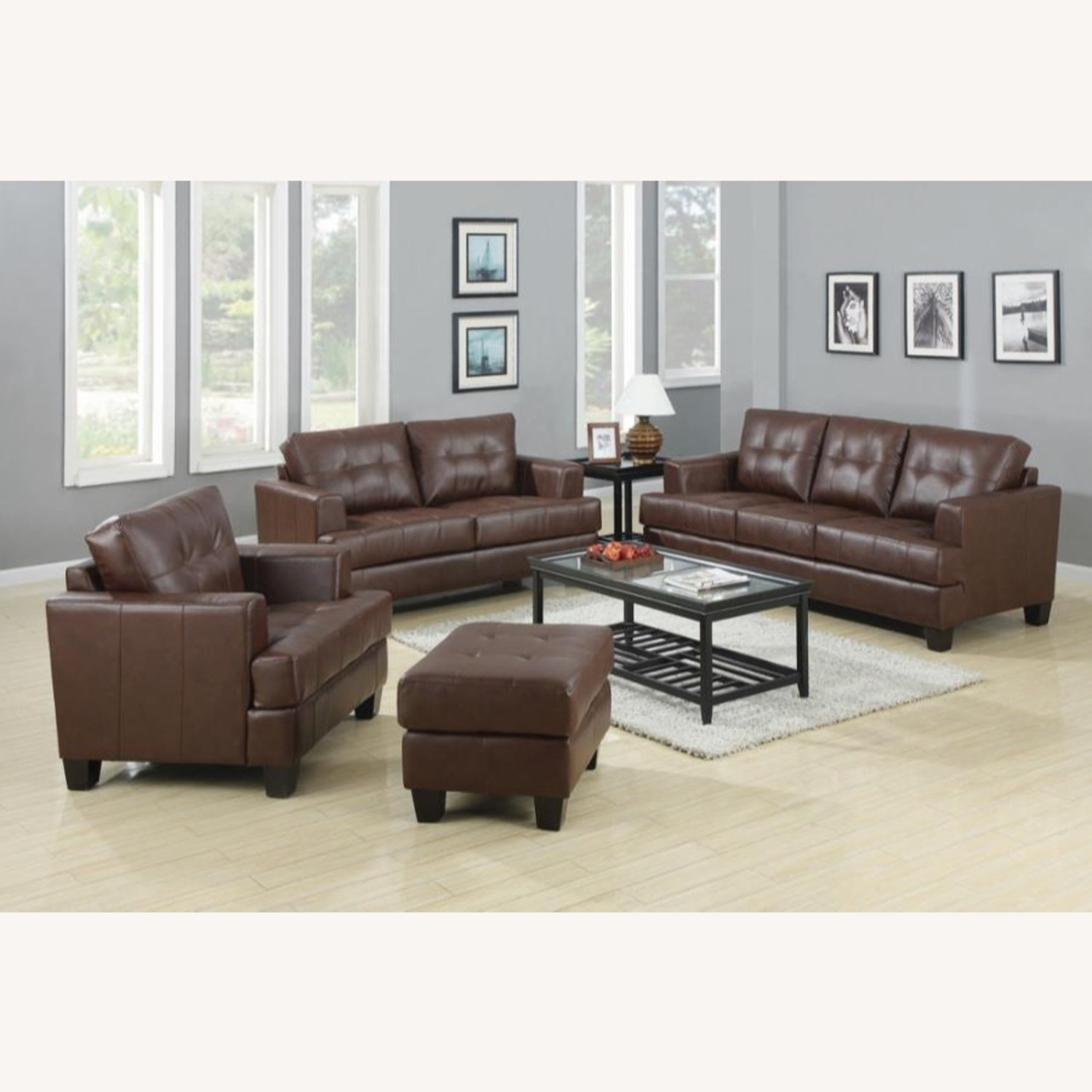 Ottoman In Brown Padded Breathable Leatherette - image-2