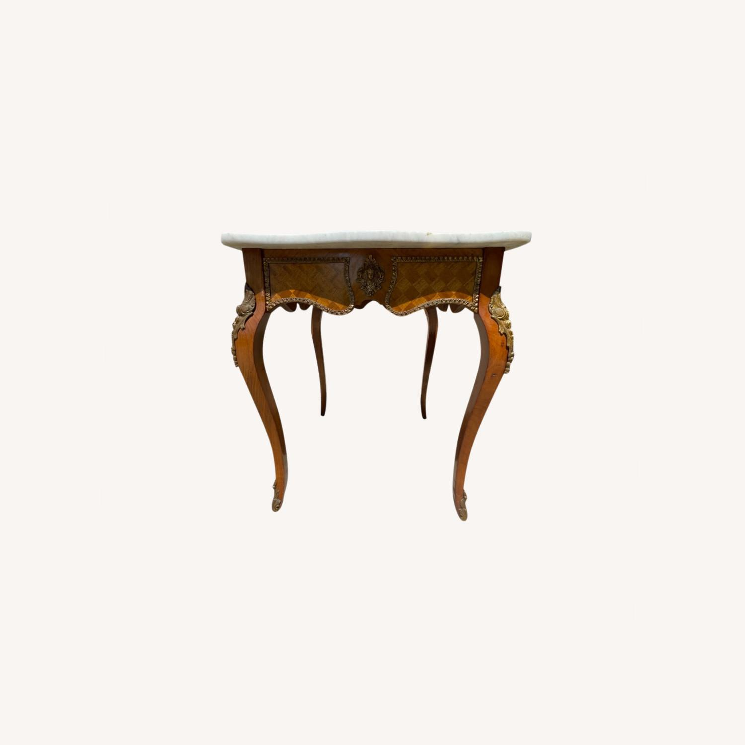 Antique 1930s Italian Marble & Brass Inlaid  Table - image-0