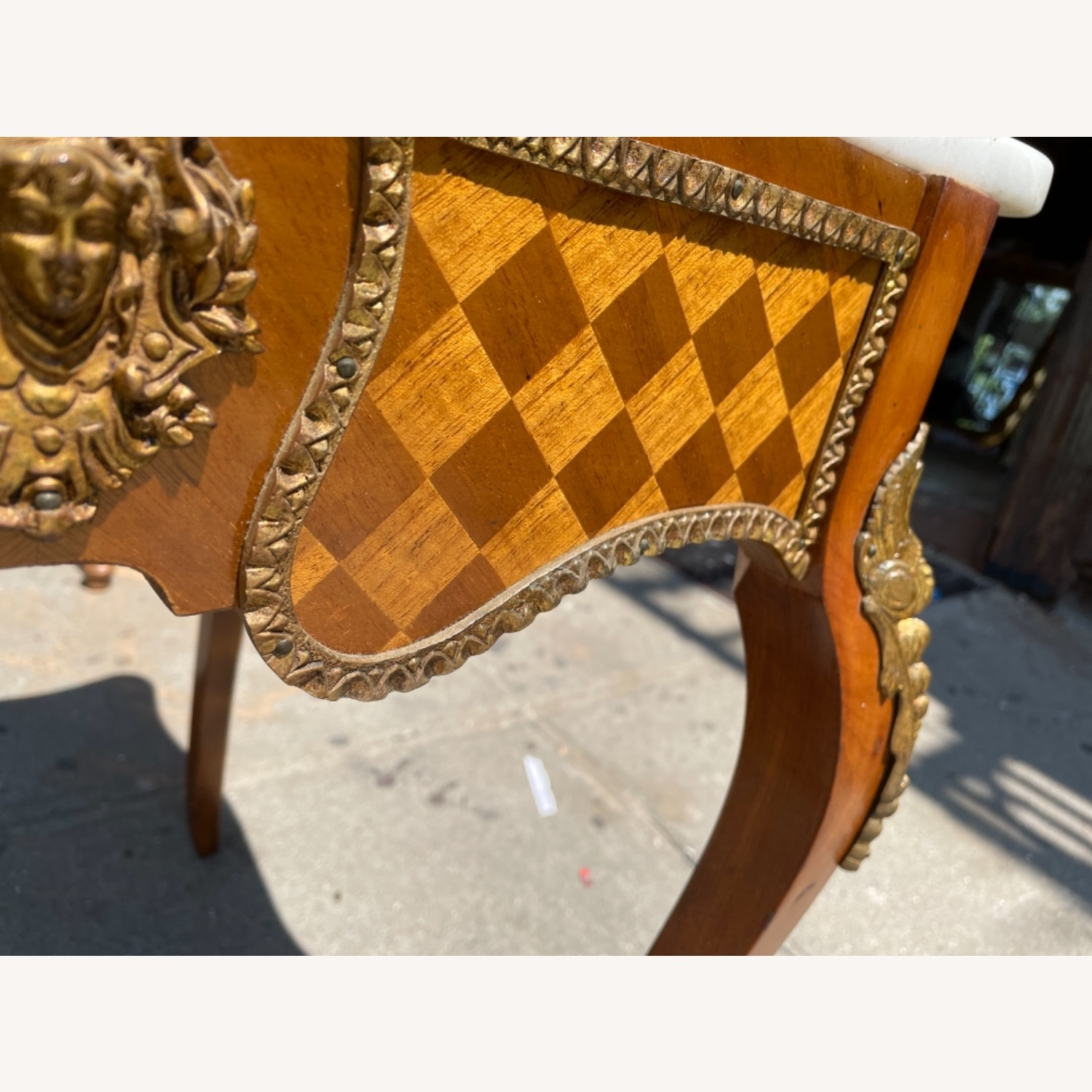 Antique 1930s Italian Marble & Brass Inlaid  Table - image-12