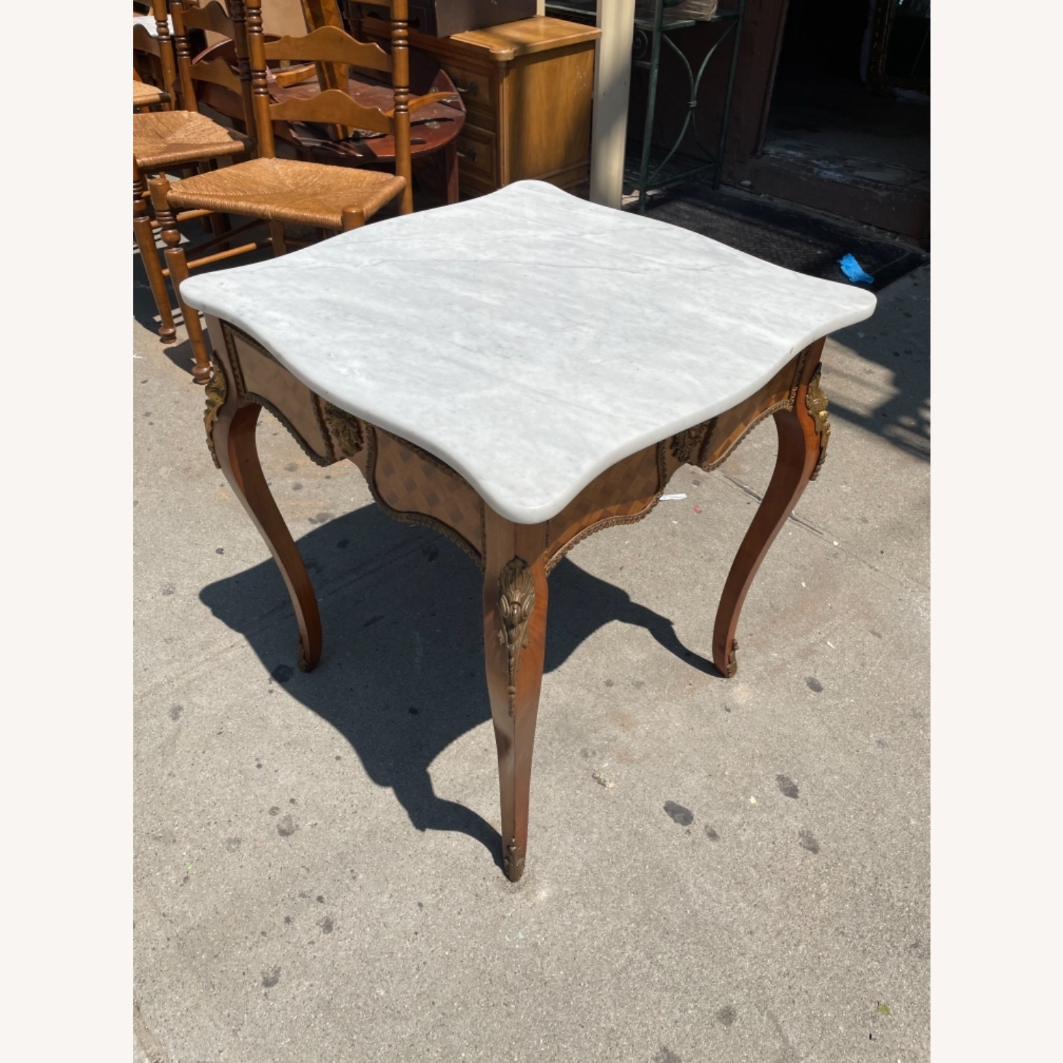 Antique 1930s Italian Marble & Brass Inlaid  Table - image-3