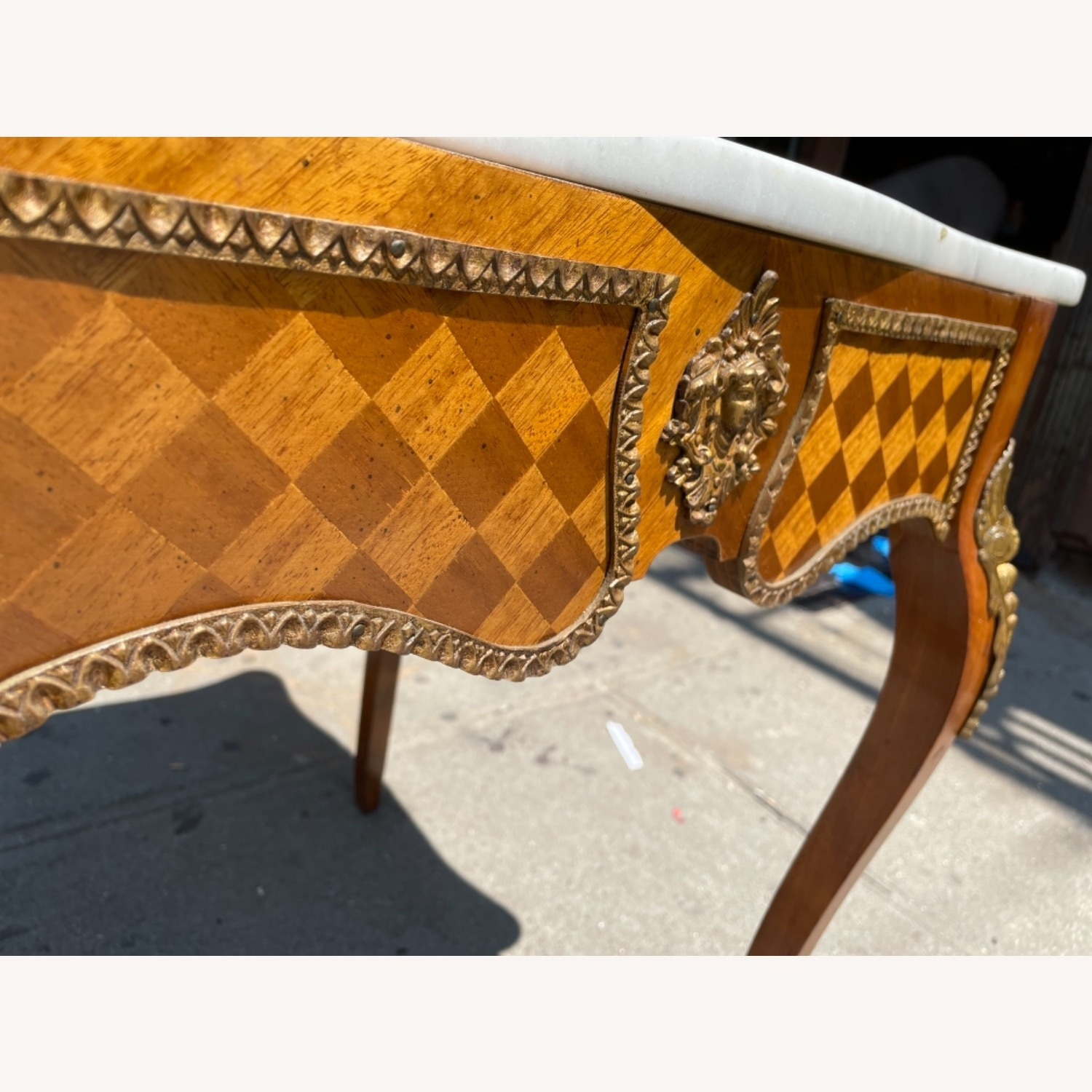 Antique 1930s Italian Marble & Brass Inlaid  Table - image-9