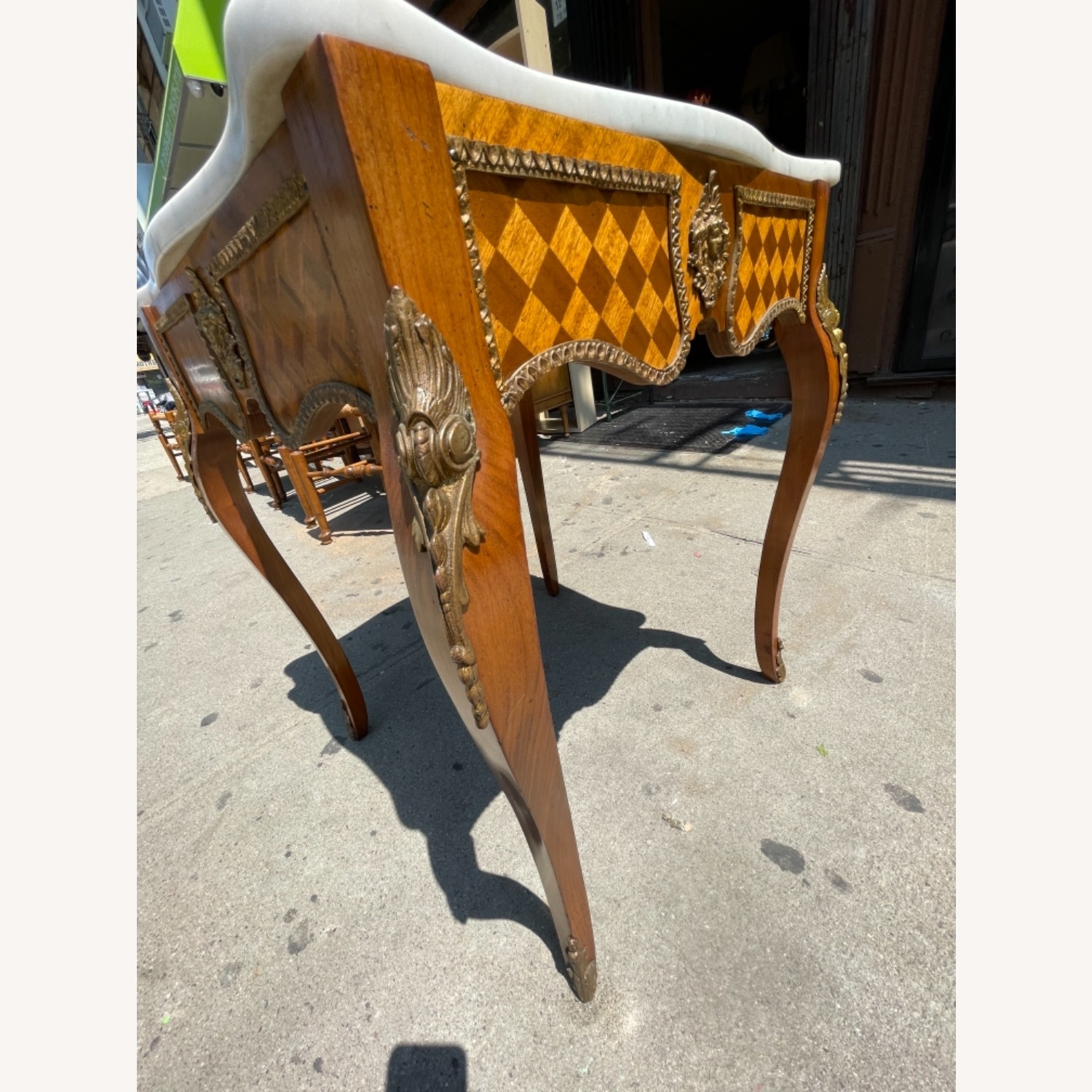 Antique 1930s Italian Marble & Brass Inlaid  Table - image-15