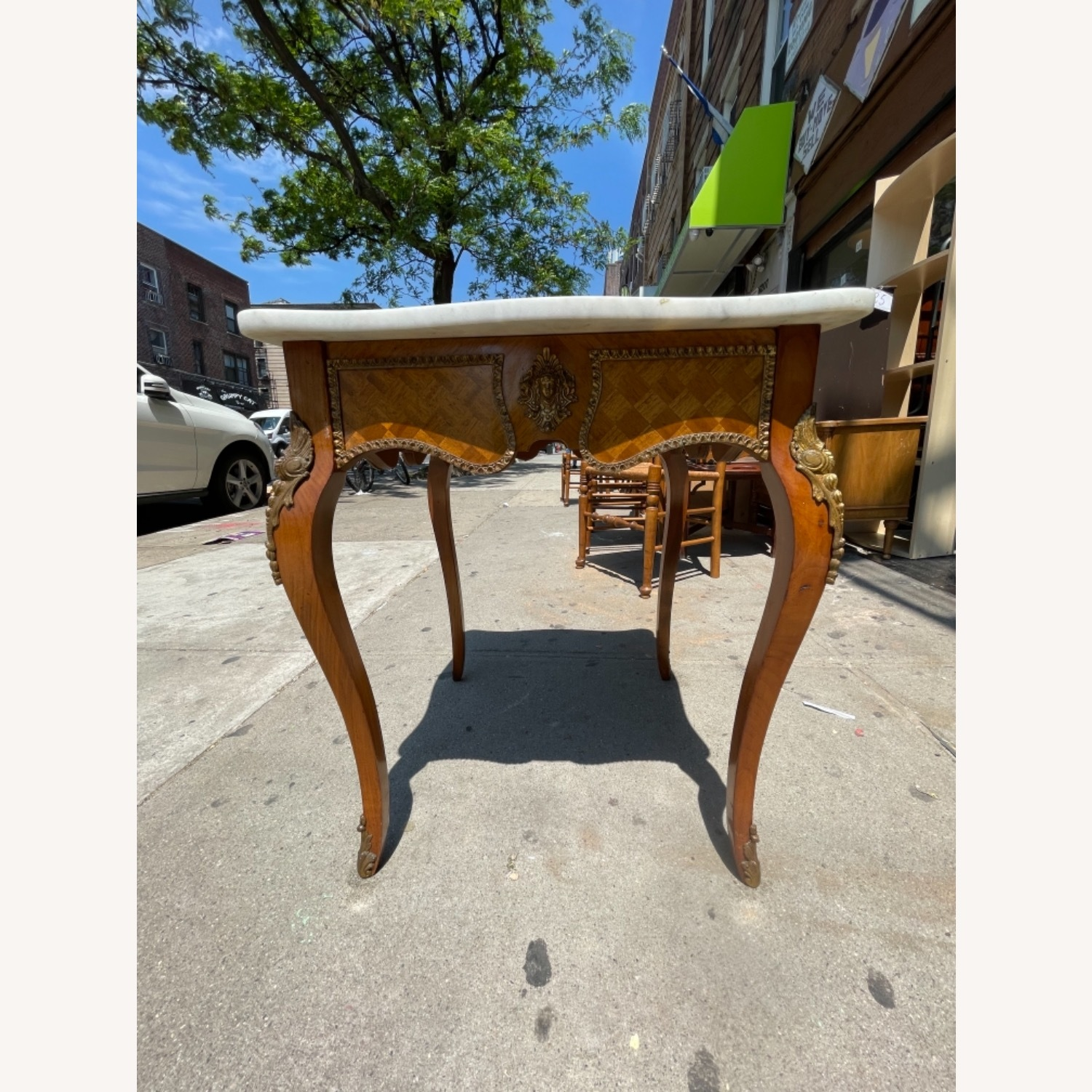 Antique 1930s Italian Marble & Brass Inlaid  Table - image-1
