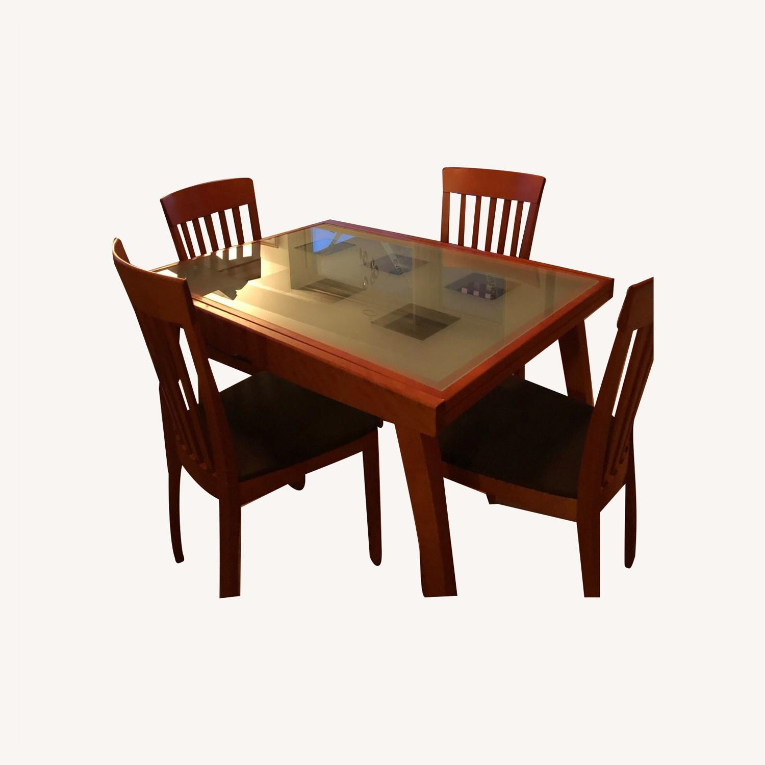 Glass & Cherry Wood Expansion Table & Chairs - image-0
