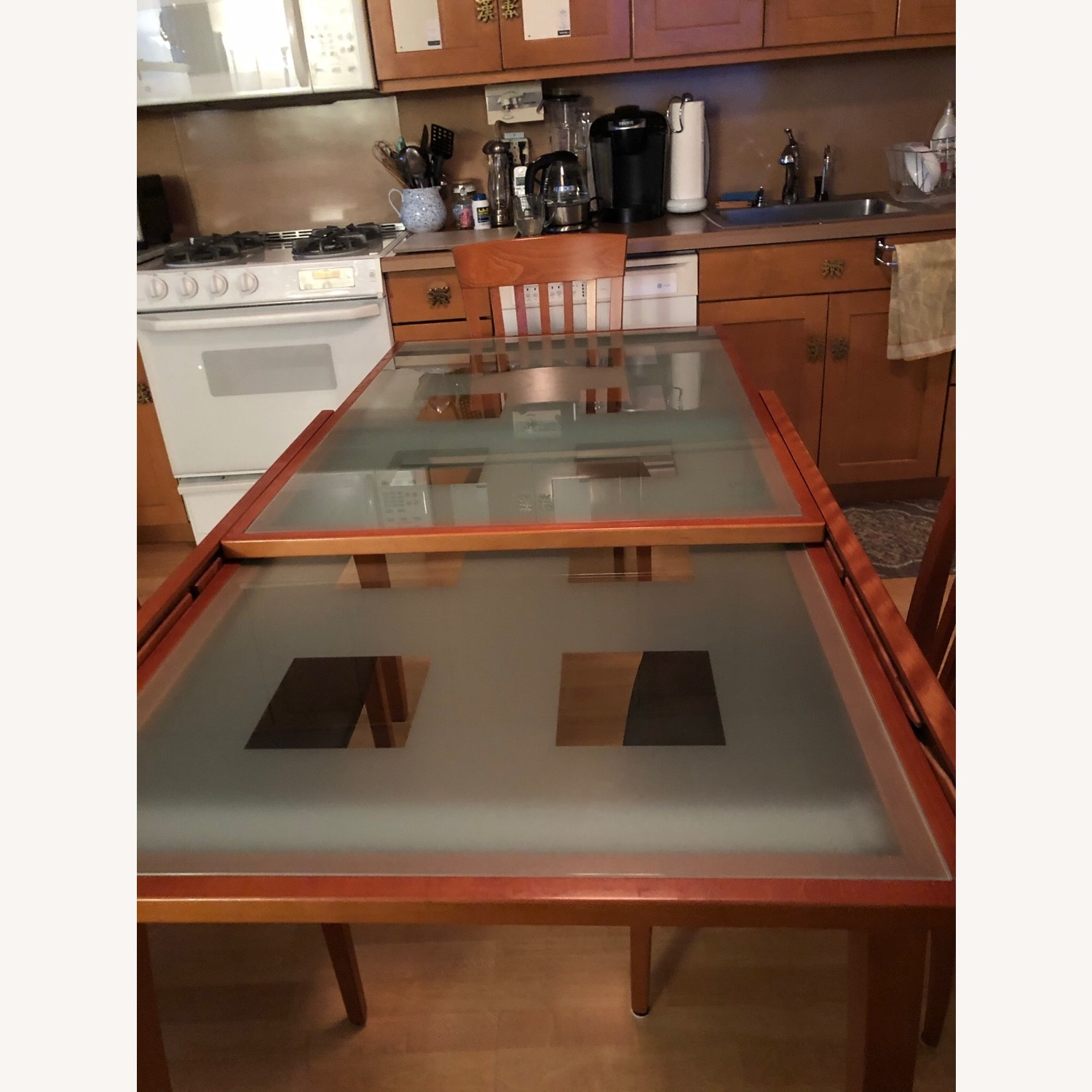 Glass & Cherry Wood Expansion Table & Chairs - image-4