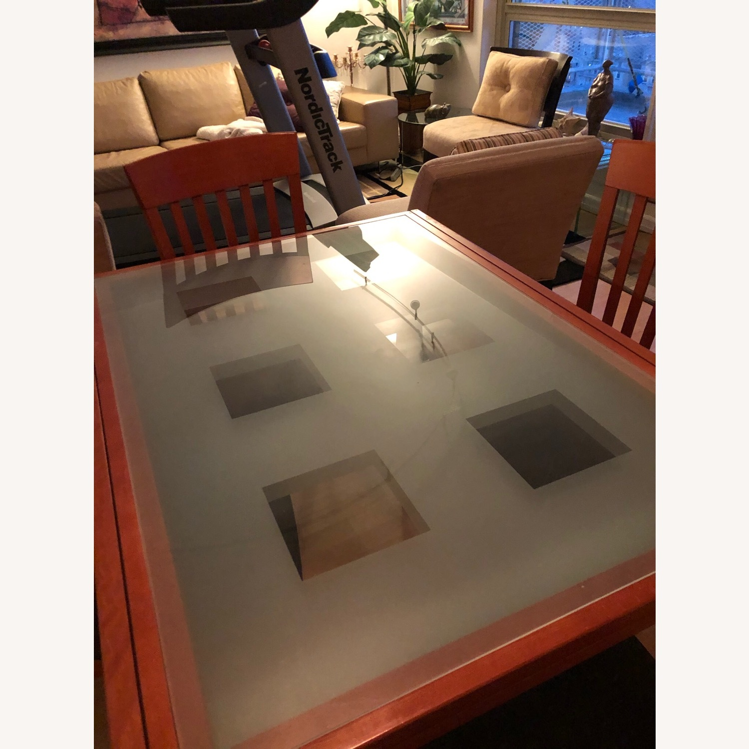 Glass & Cherry Wood Expansion Table & Chairs - image-2
