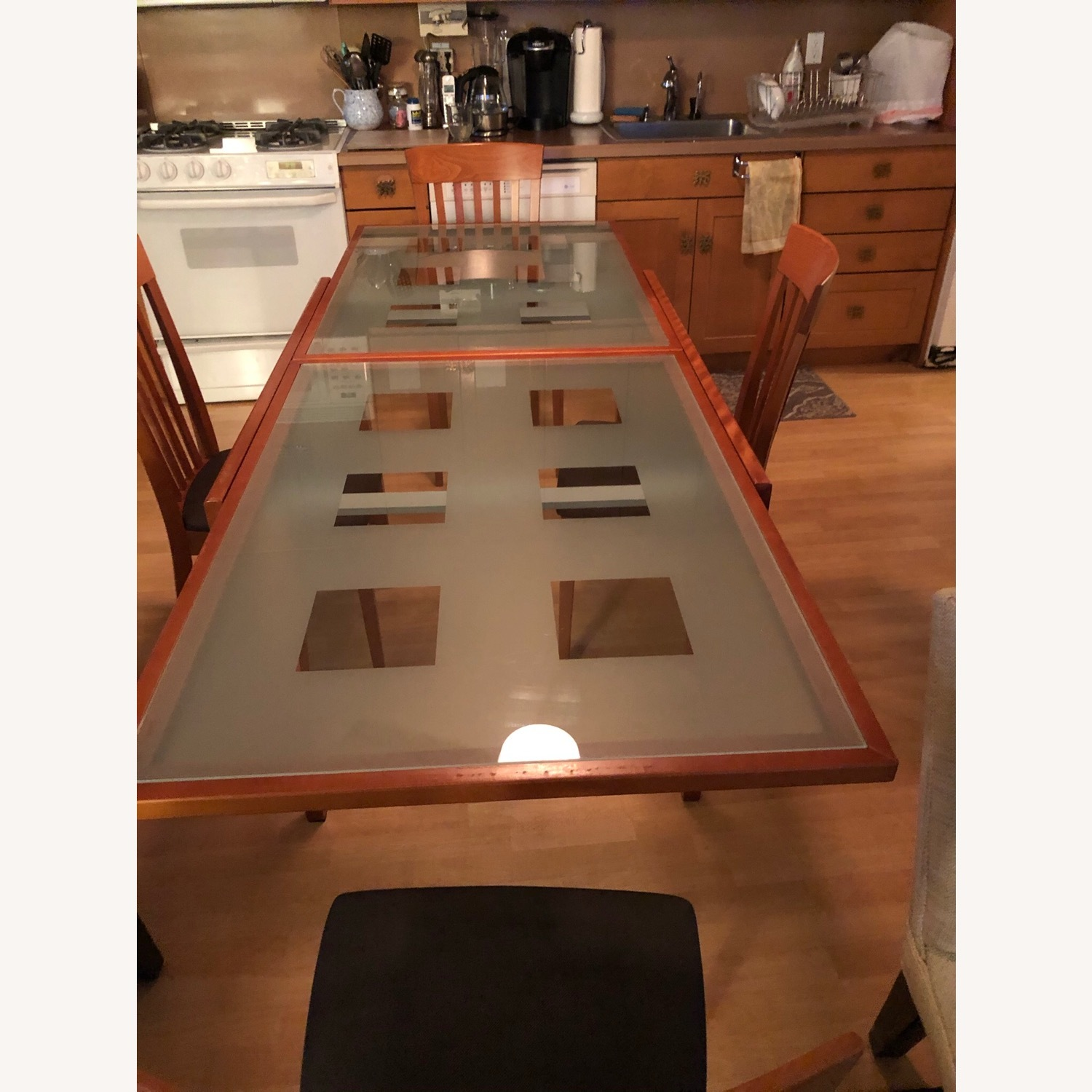 Glass & Cherry Wood Expansion Table & Chairs - image-3