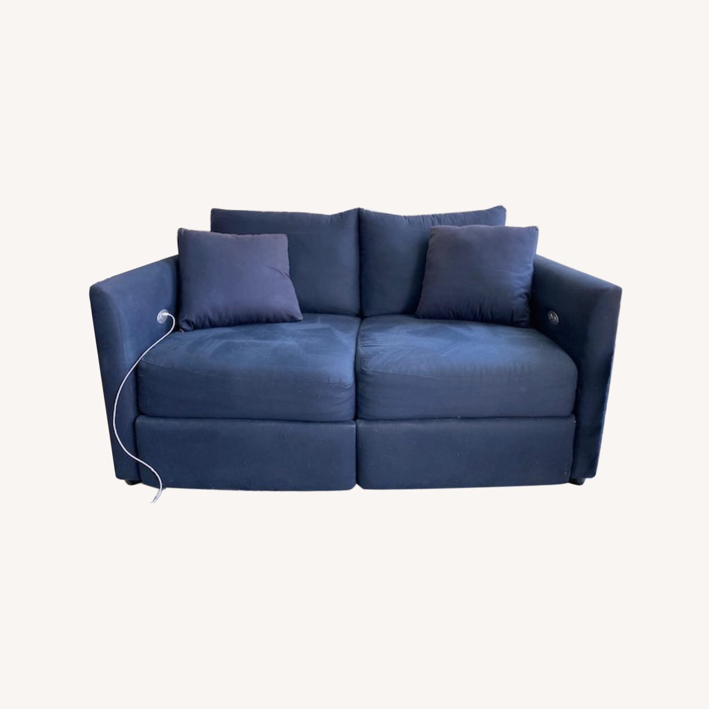 Wayfair Navy Blue Reclining Loveseat with Throw Pillows - image-0