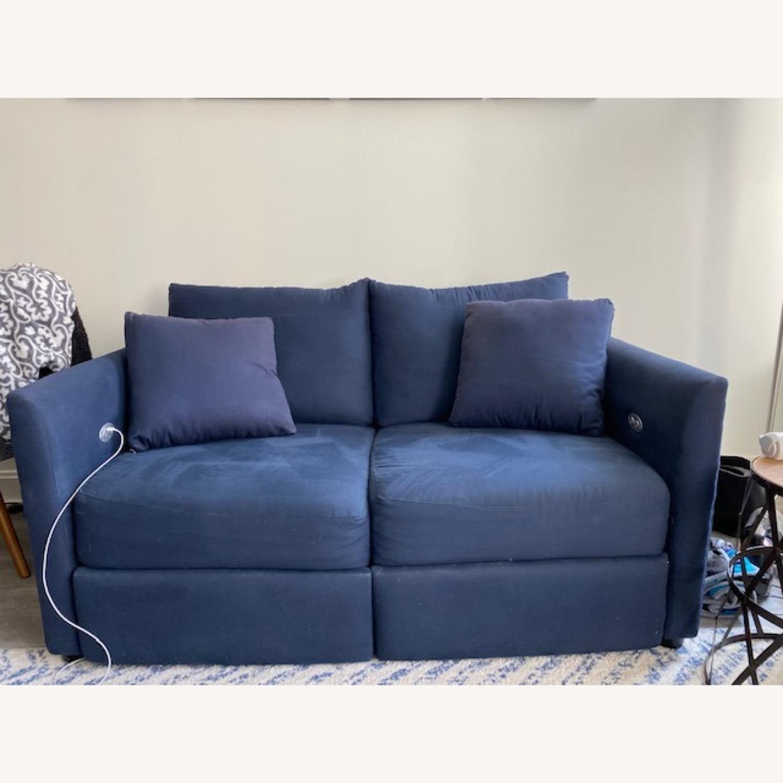 Wayfair Navy Blue Reclining Loveseat with Throw Pillows - image-1