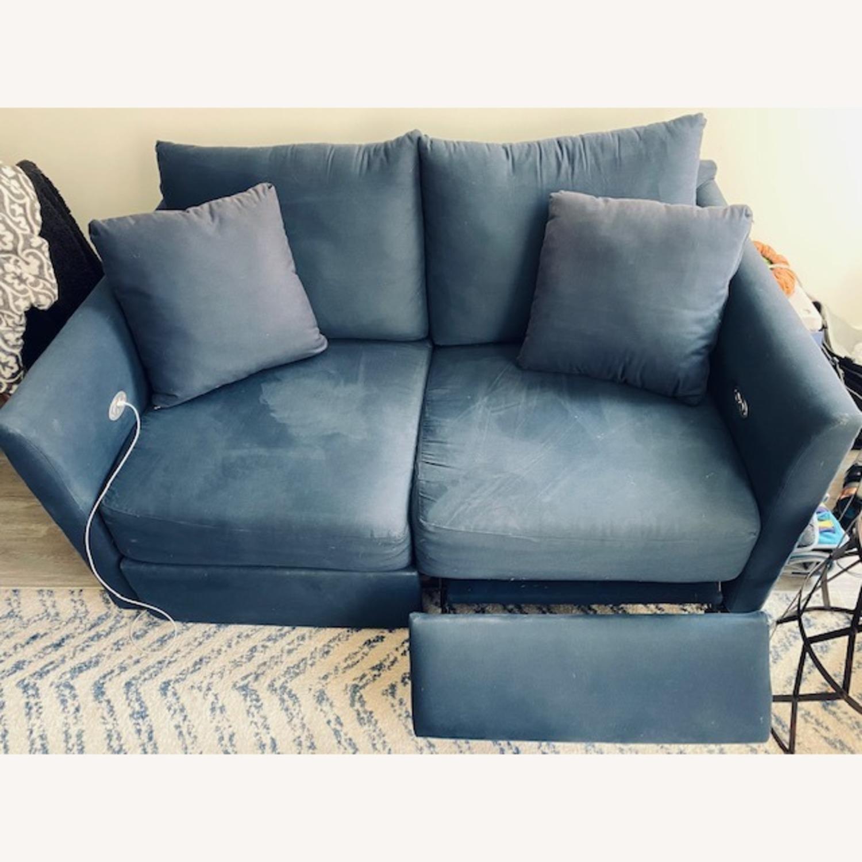 Wayfair Navy Blue Reclining Loveseat with Throw Pillows - image-4