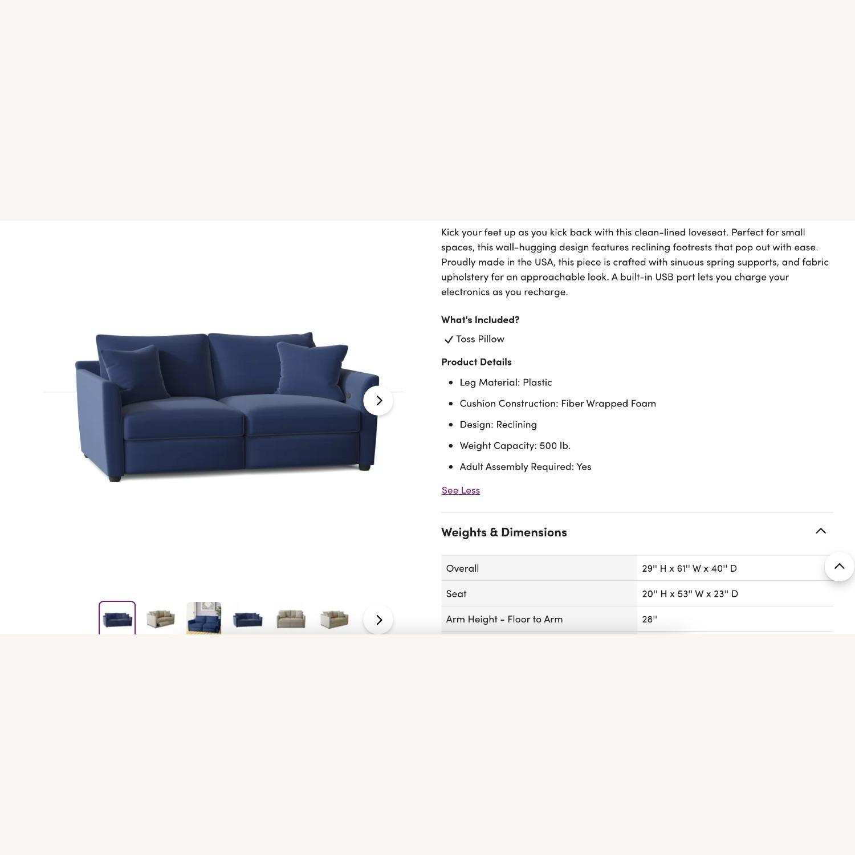 Wayfair Navy Blue Reclining Loveseat with Throw Pillows - image-2