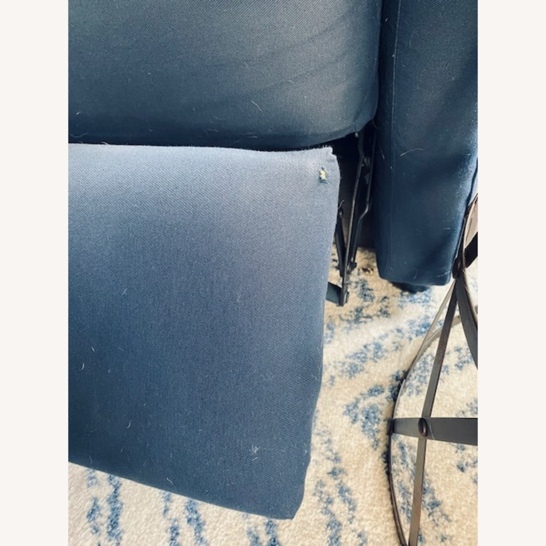 Wayfair Navy Blue Reclining Loveseat with Throw Pillows - image-3