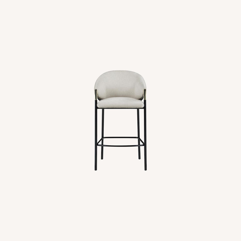 Bar Stool In Beige Upholstery & Glossy Black Legs - image-8