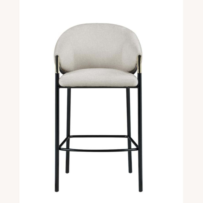 Bar Stool In Beige Upholstery & Glossy Black Legs - image-1