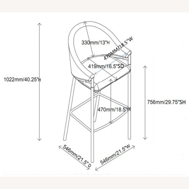 Bar Stool In Beige Upholstery & Glossy Black Legs - image-7