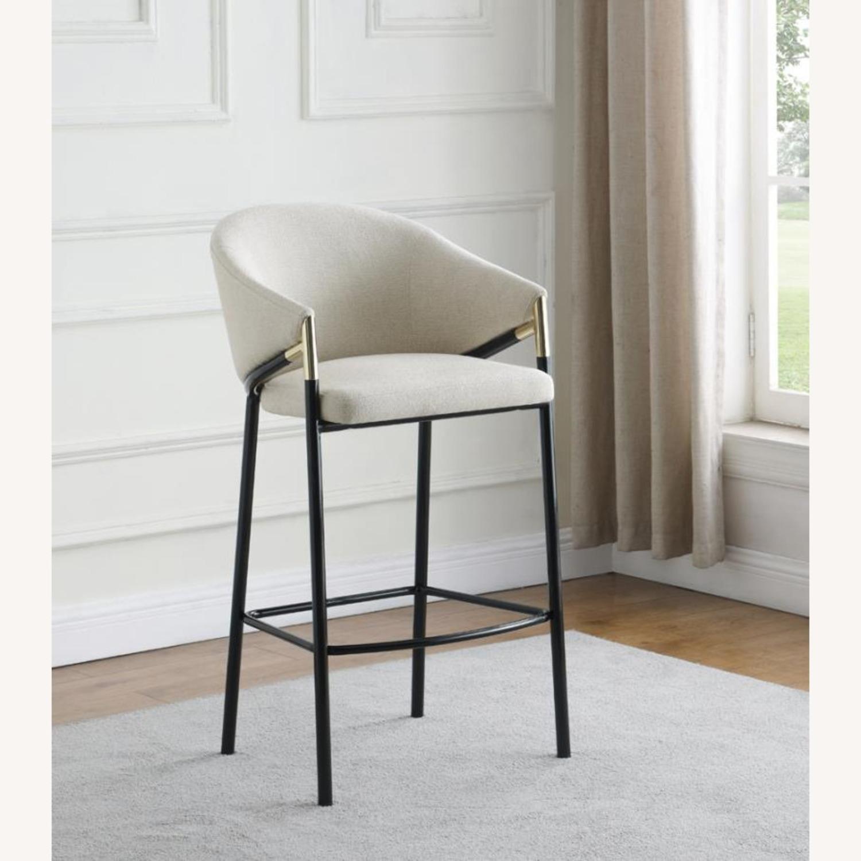 Bar Stool In Beige Upholstery & Glossy Black Legs - image-6