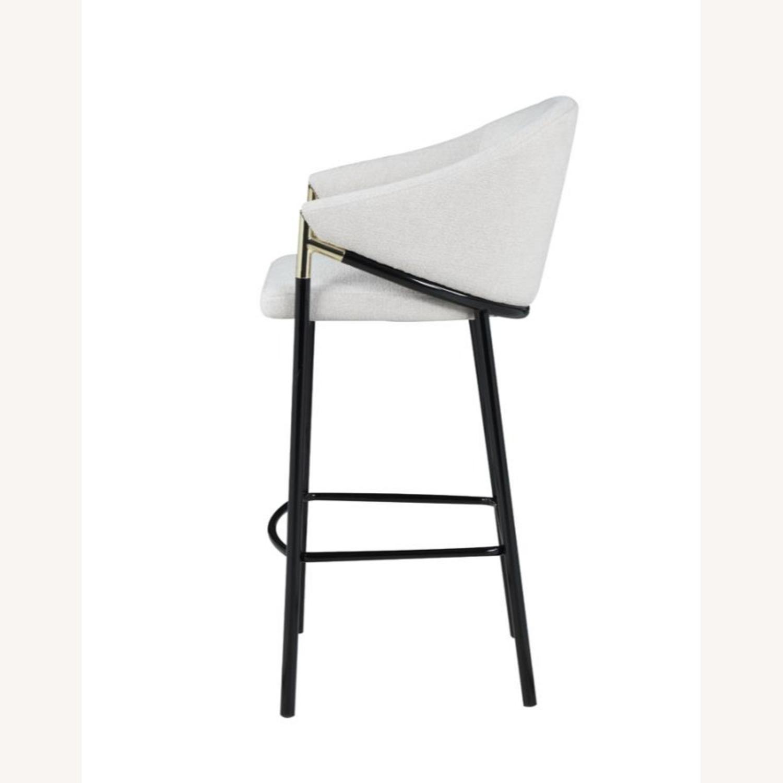 Bar Stool In Beige Upholstery & Glossy Black Legs - image-2