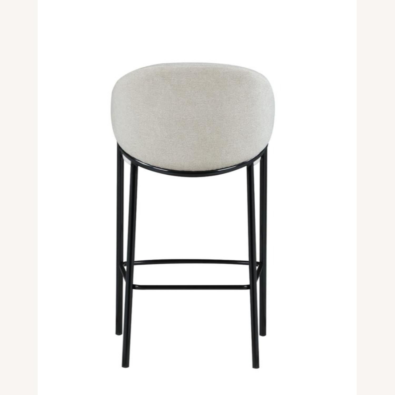 Bar Stool In Beige Upholstery & Glossy Black Legs - image-4