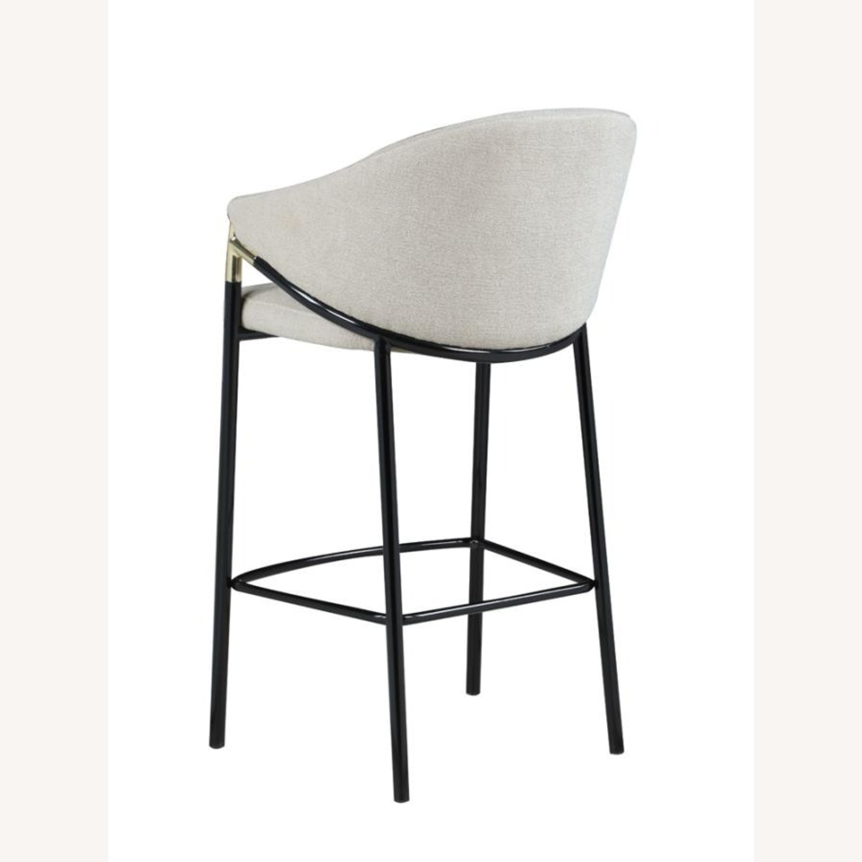 Bar Stool In Beige Upholstery & Glossy Black Legs - image-3