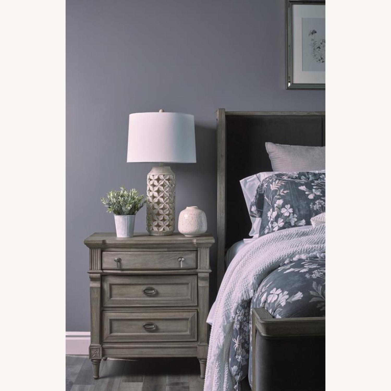 Nightstand In Charcoal Grey Matte Velvet Finish - image-1