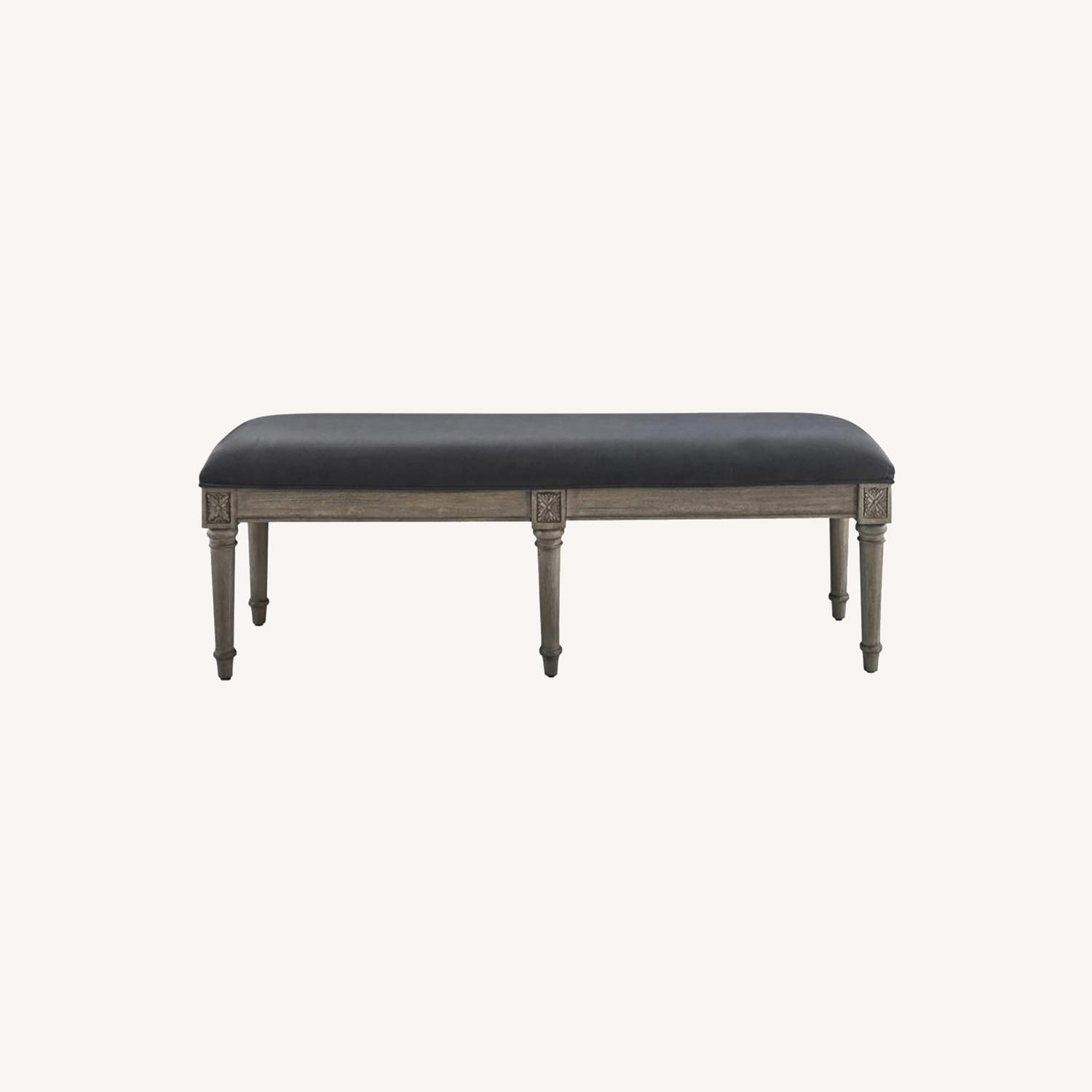 Bench In Grey Upholstery W/ Natural Wood Legs - image-3