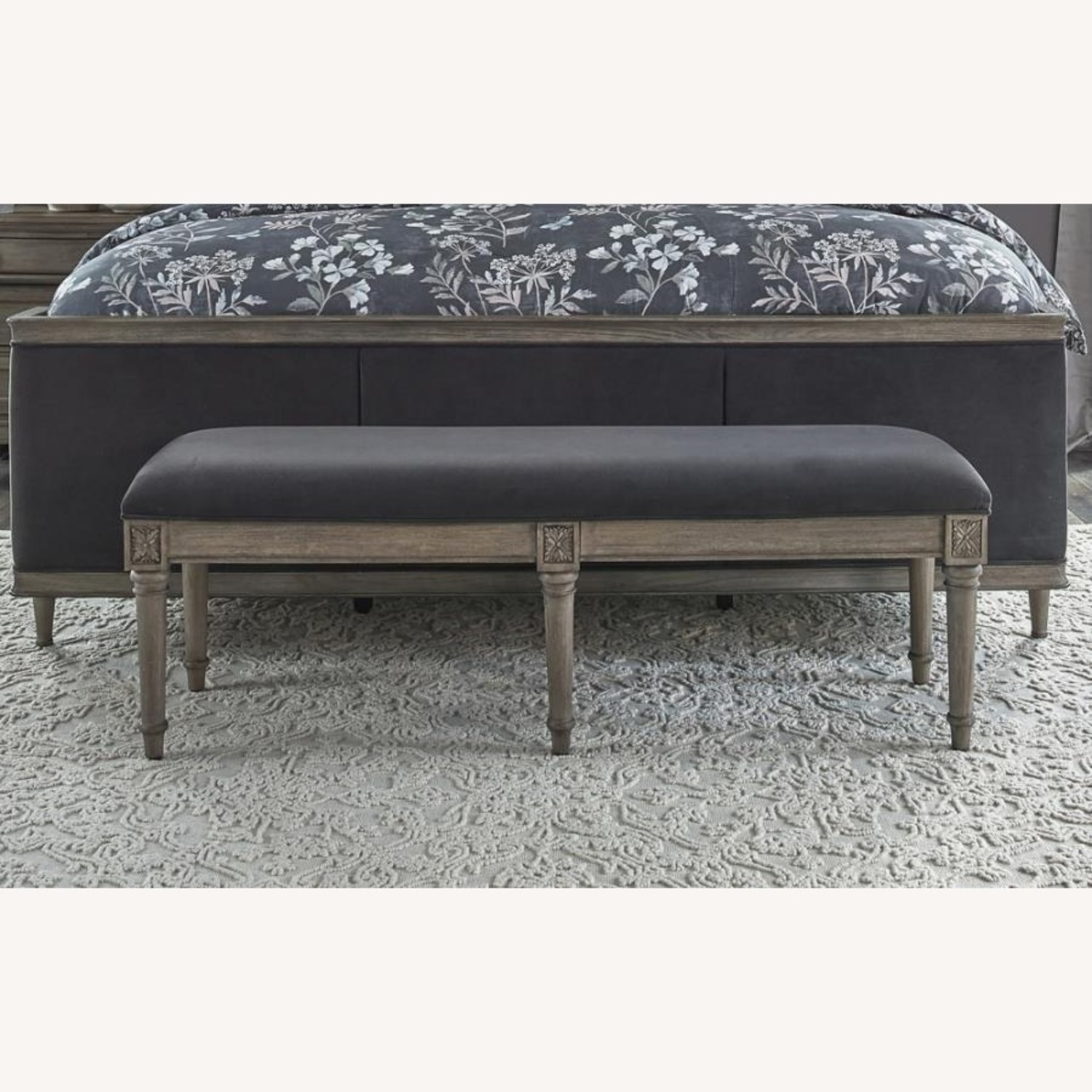 Bench In Grey Upholstery W/ Natural Wood Legs - image-1