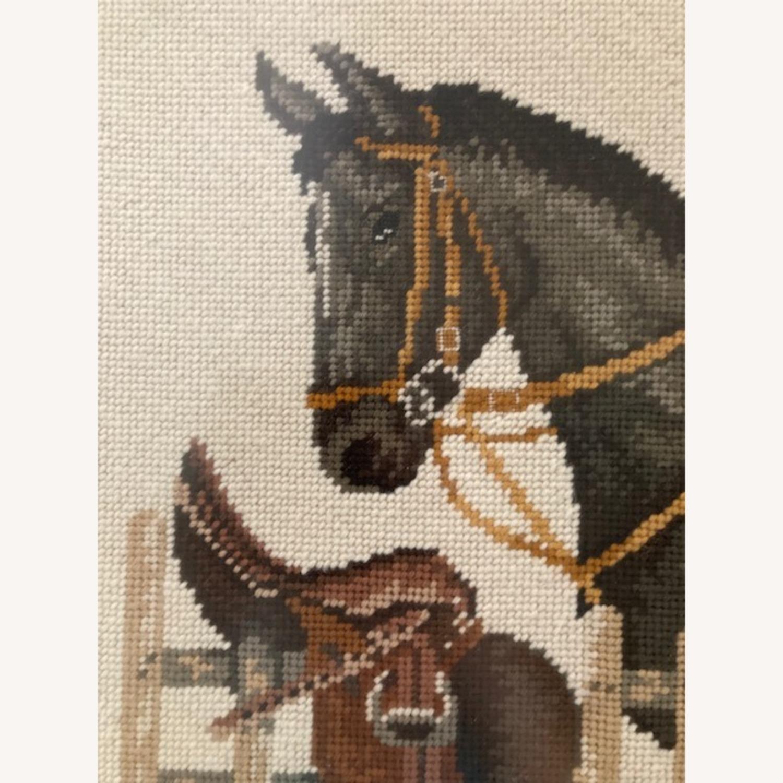Mare and Stallion and Saddle Needlepoint - framed - image-3