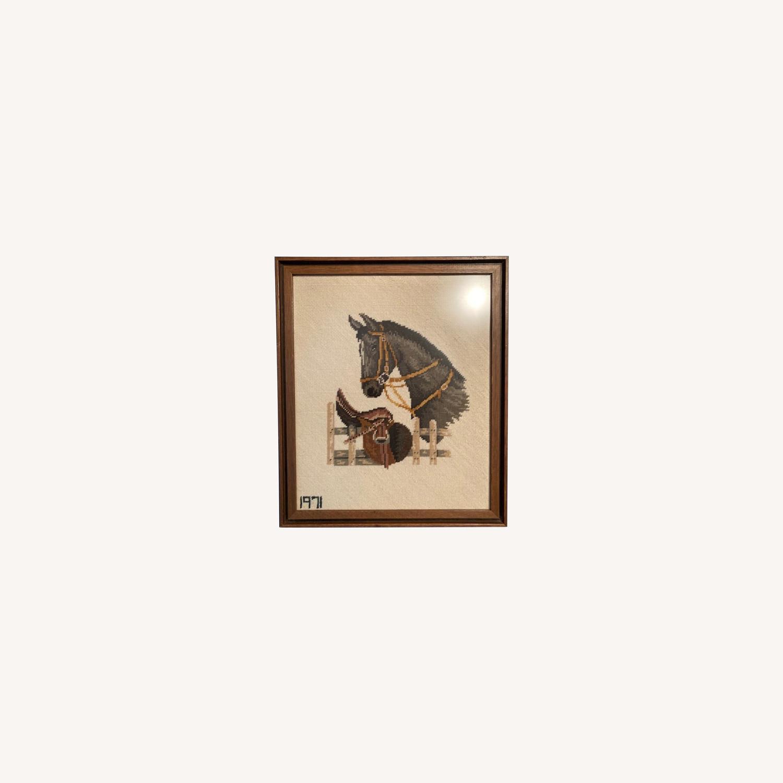 Mare and Stallion and Saddle Needlepoint - framed - image-0