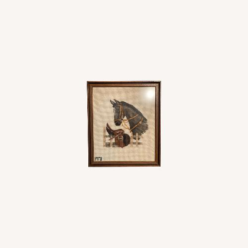 Used Mare and Stallion and Saddle Needlepoint - framed for sale on AptDeco