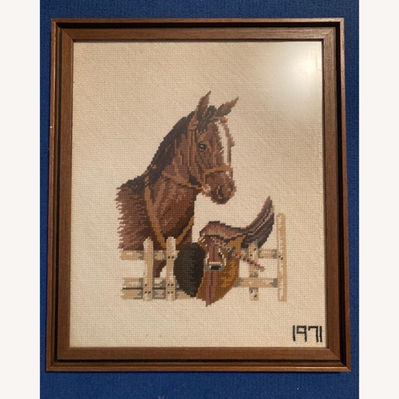 Mare and Stallion and Saddle Needlepoint - framed - image-2