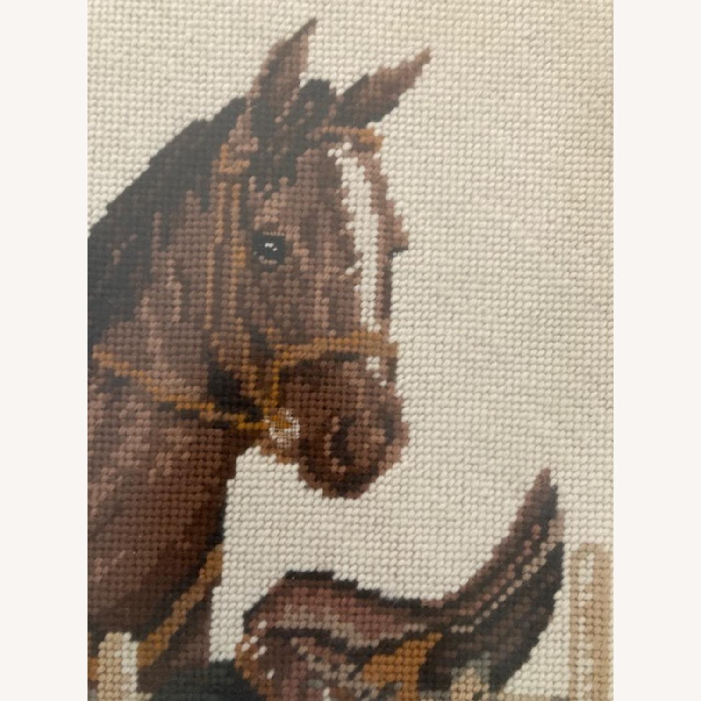 Mare and Stallion and Saddle Needlepoint - framed - image-4
