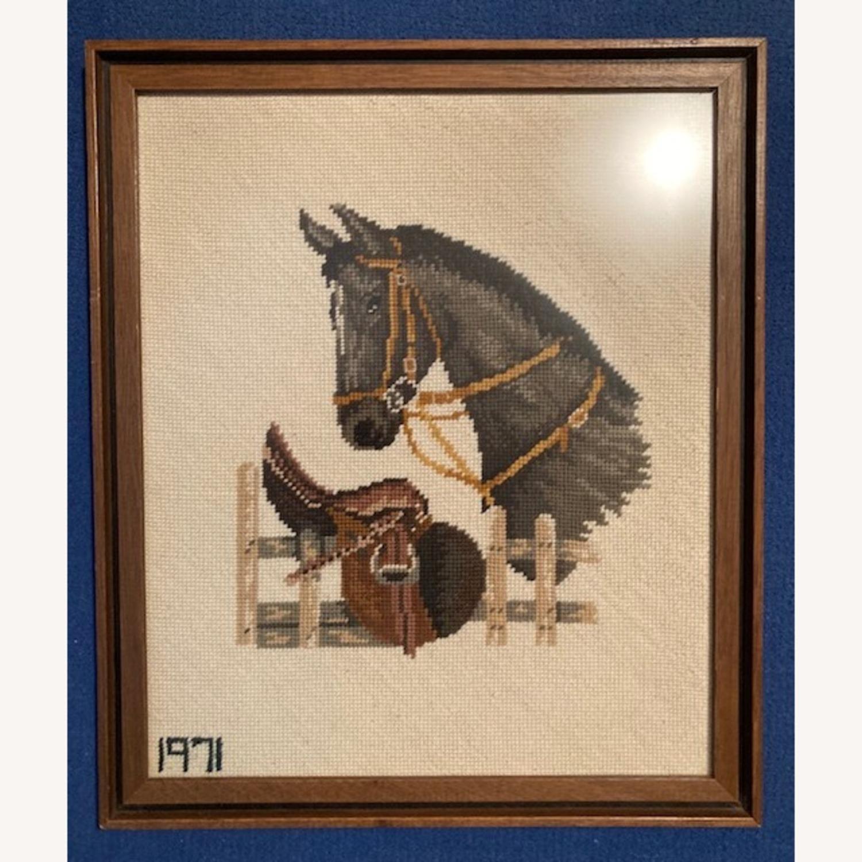 Mare and Stallion and Saddle Needlepoint - framed - image-1