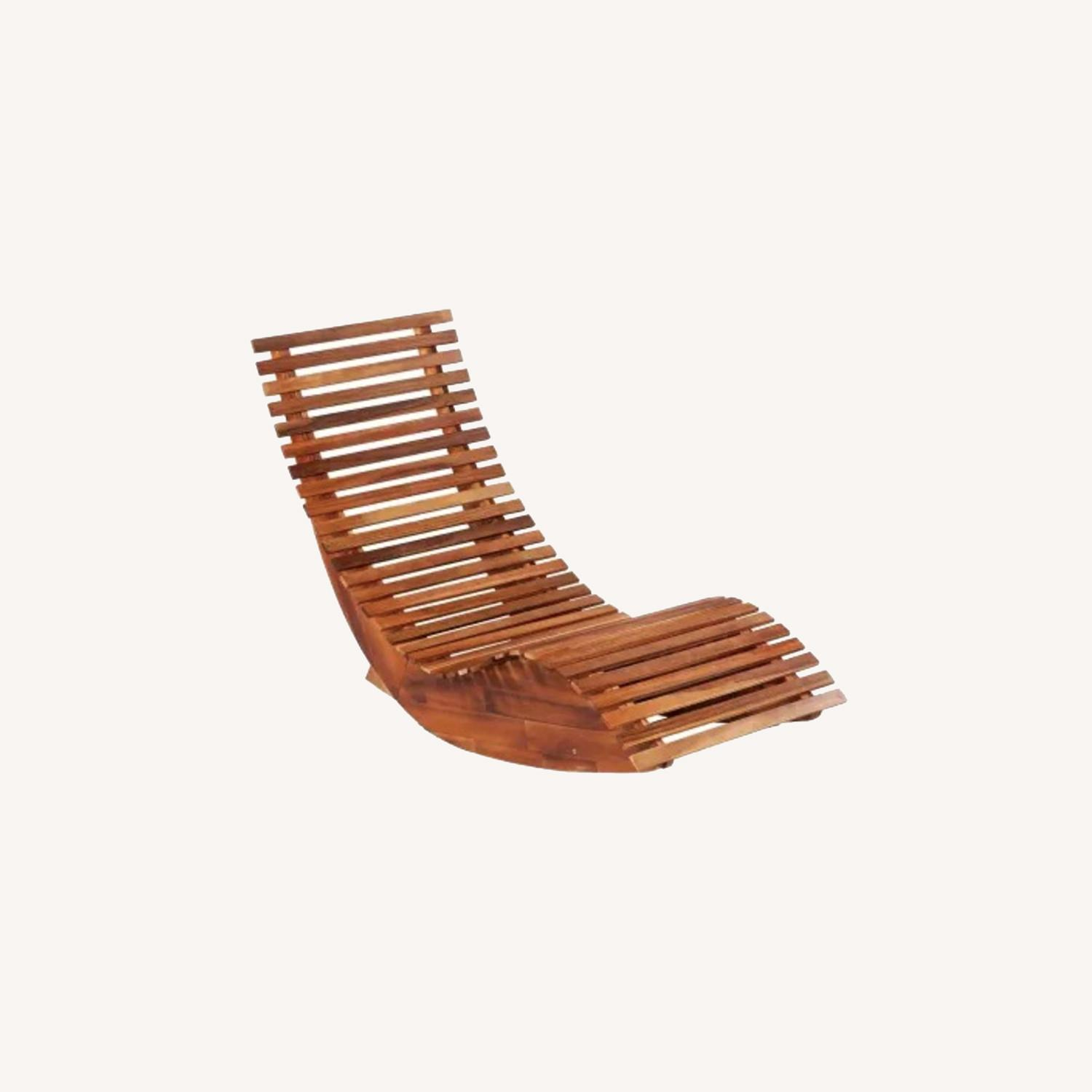 Mid Century Modern Acacia Wood Accent Lounge Chair - image-0