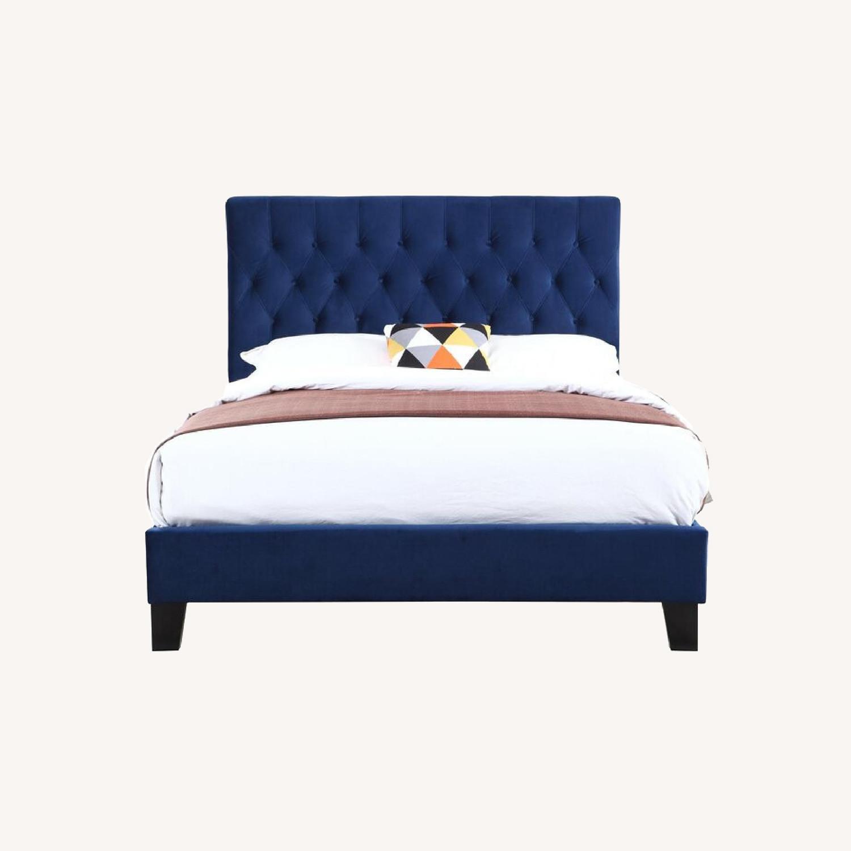 Wayfair Velvet Dark Blue Queen Size Bed Frame - image-0