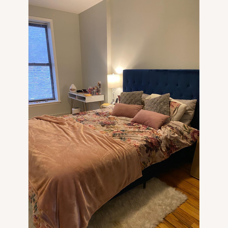 Wayfair Velvet Dark Blue Queen Size Bed Frame - image-2