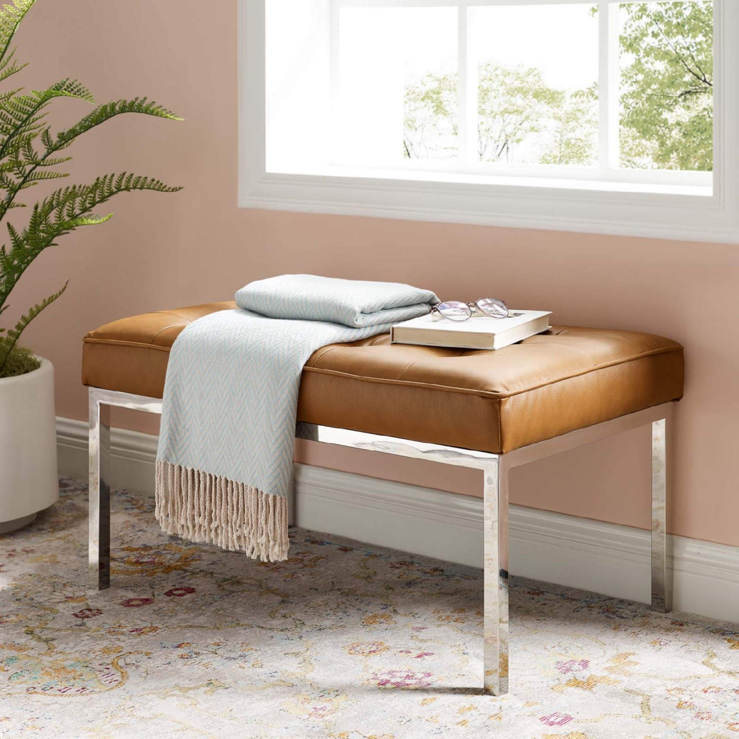 Bench In Tan Faux Leather W/ Silver Frame Finish - image-4