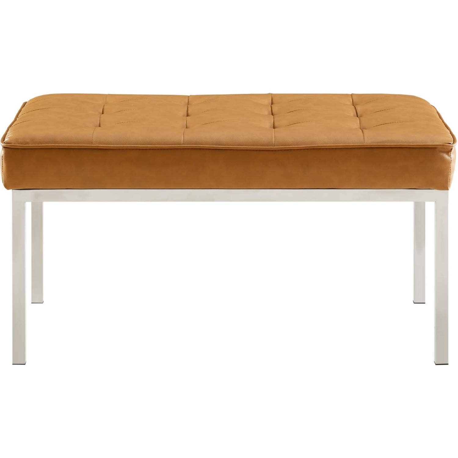 Bench In Tan Faux Leather W/ Silver Frame Finish - image-2