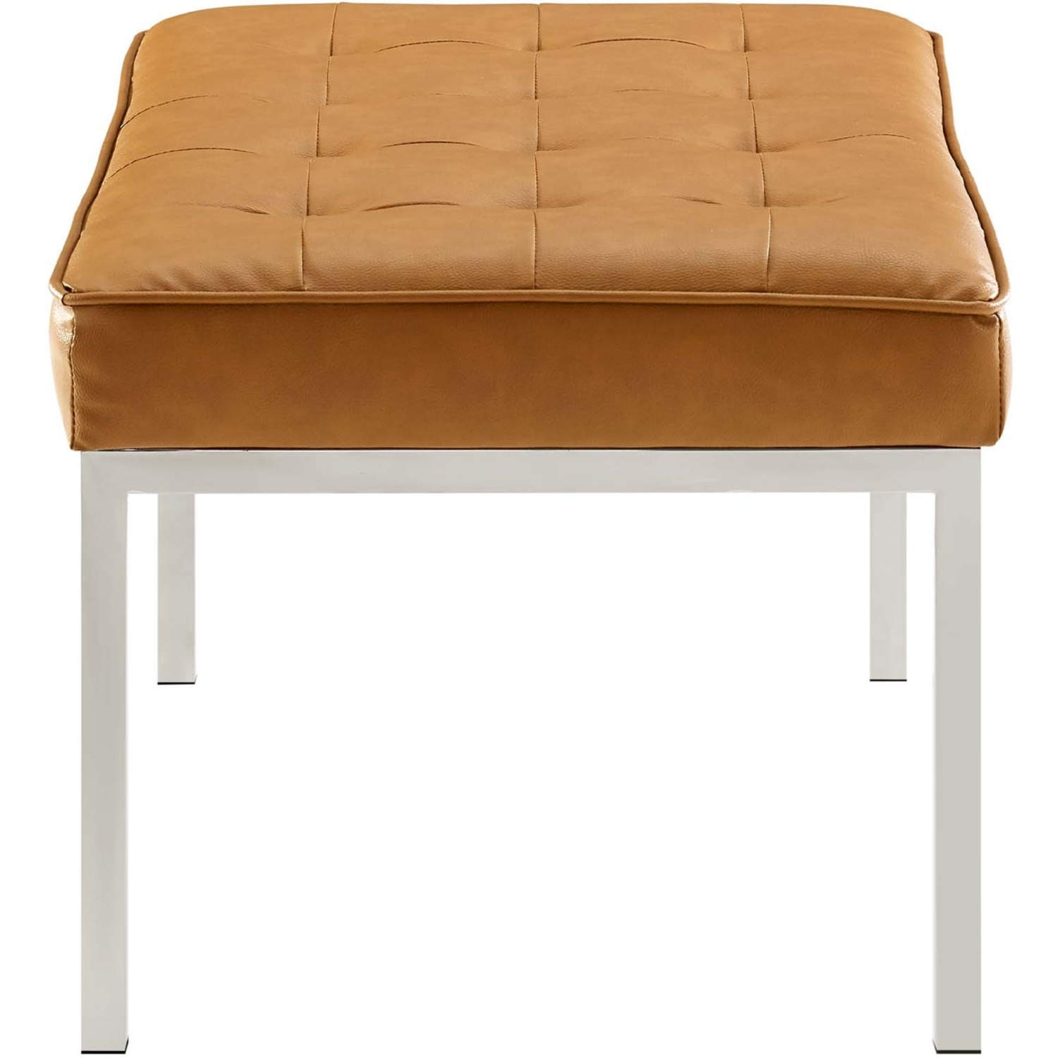 Bench In Tan Faux Leather W/ Silver Frame Finish - image-1