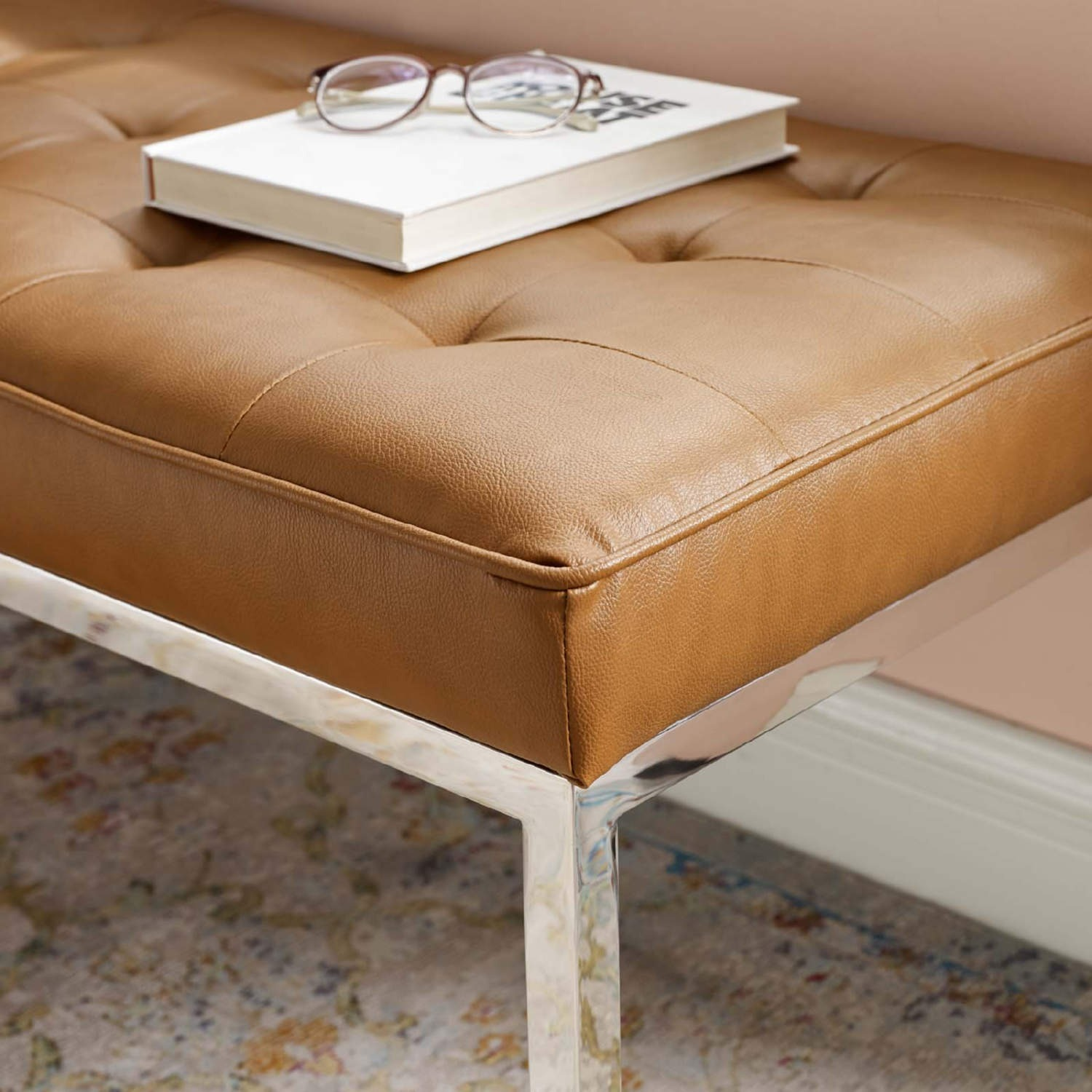 Bench In Tan Faux Leather W/ Silver Frame Finish - image-3