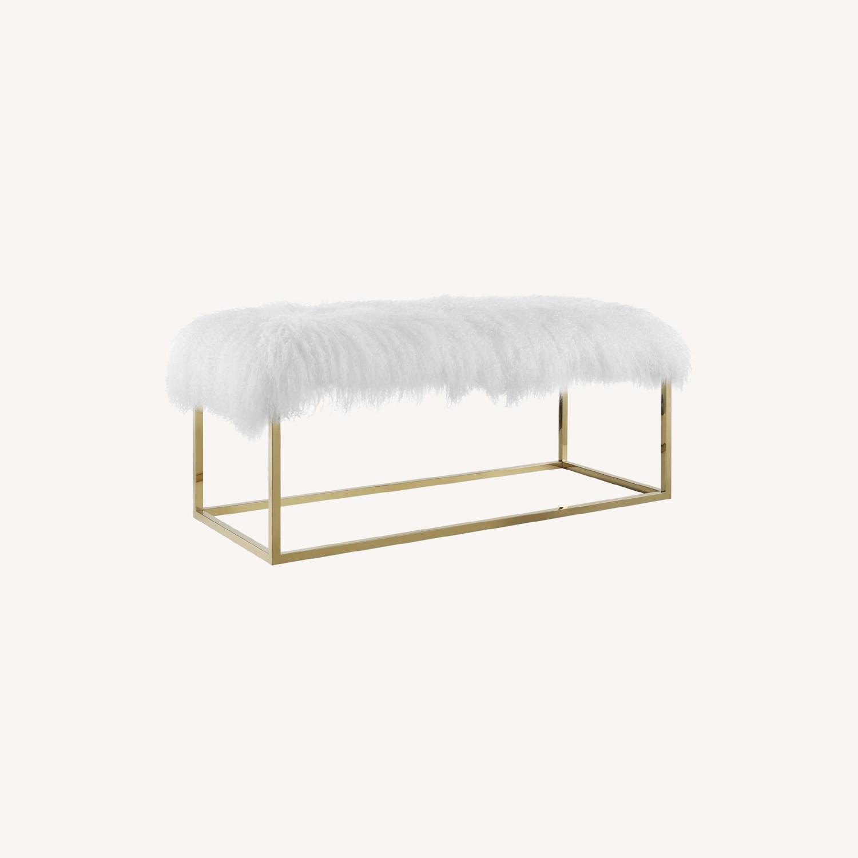 Modern Bench In White Sheepskin W/ Gold Frame Base - image-6