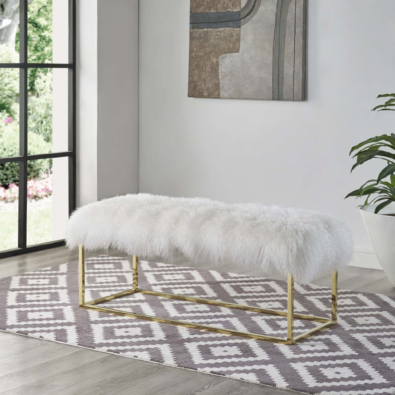 Modern Bench In White Sheepskin W/ Gold Frame Base - image-3