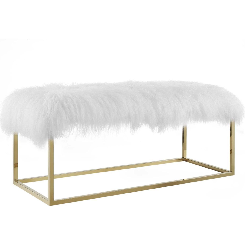 Modern Bench In White Sheepskin W/ Gold Frame Base - image-0