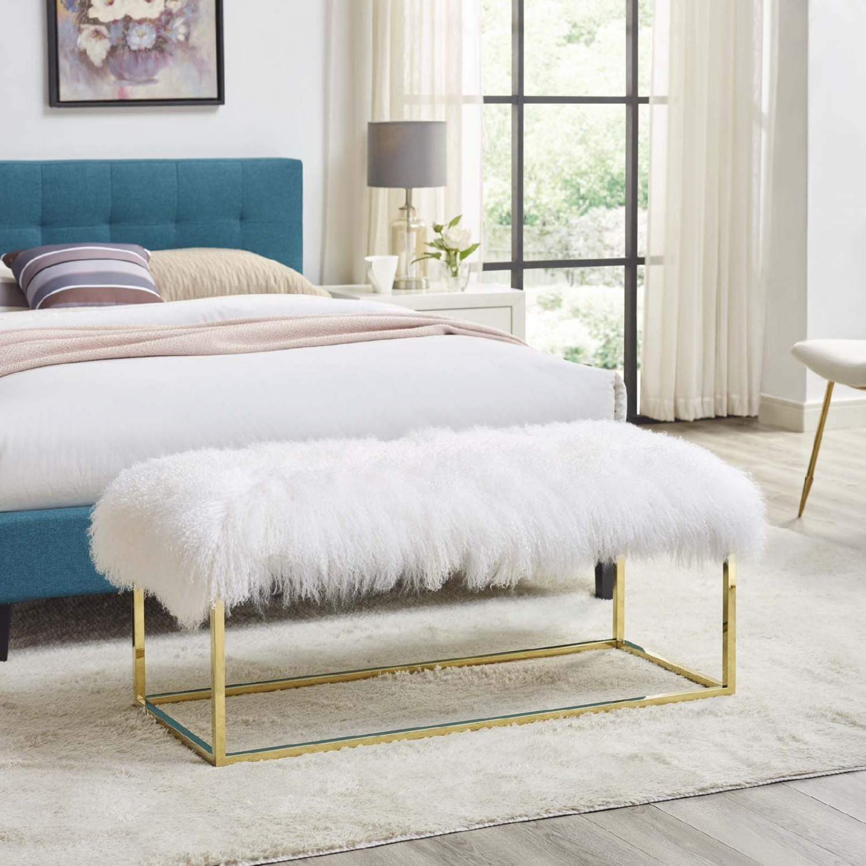 Modern Bench In White Sheepskin W/ Gold Frame Base - image-4