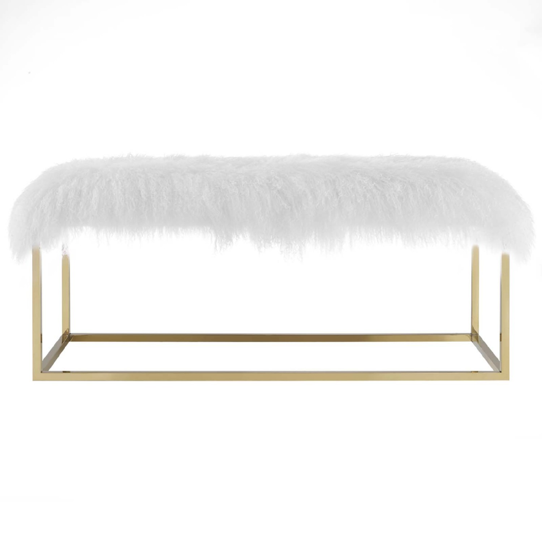Modern Bench In White Sheepskin W/ Gold Frame Base - image-1
