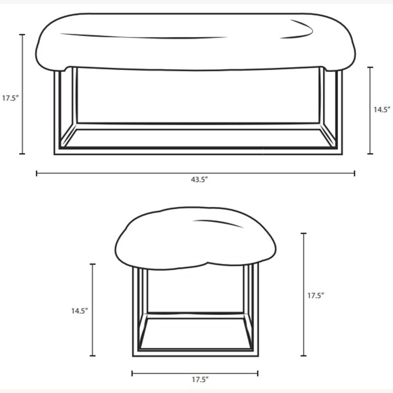 Modern Bench In White Sheepskin W/ Gold Frame Base - image-5