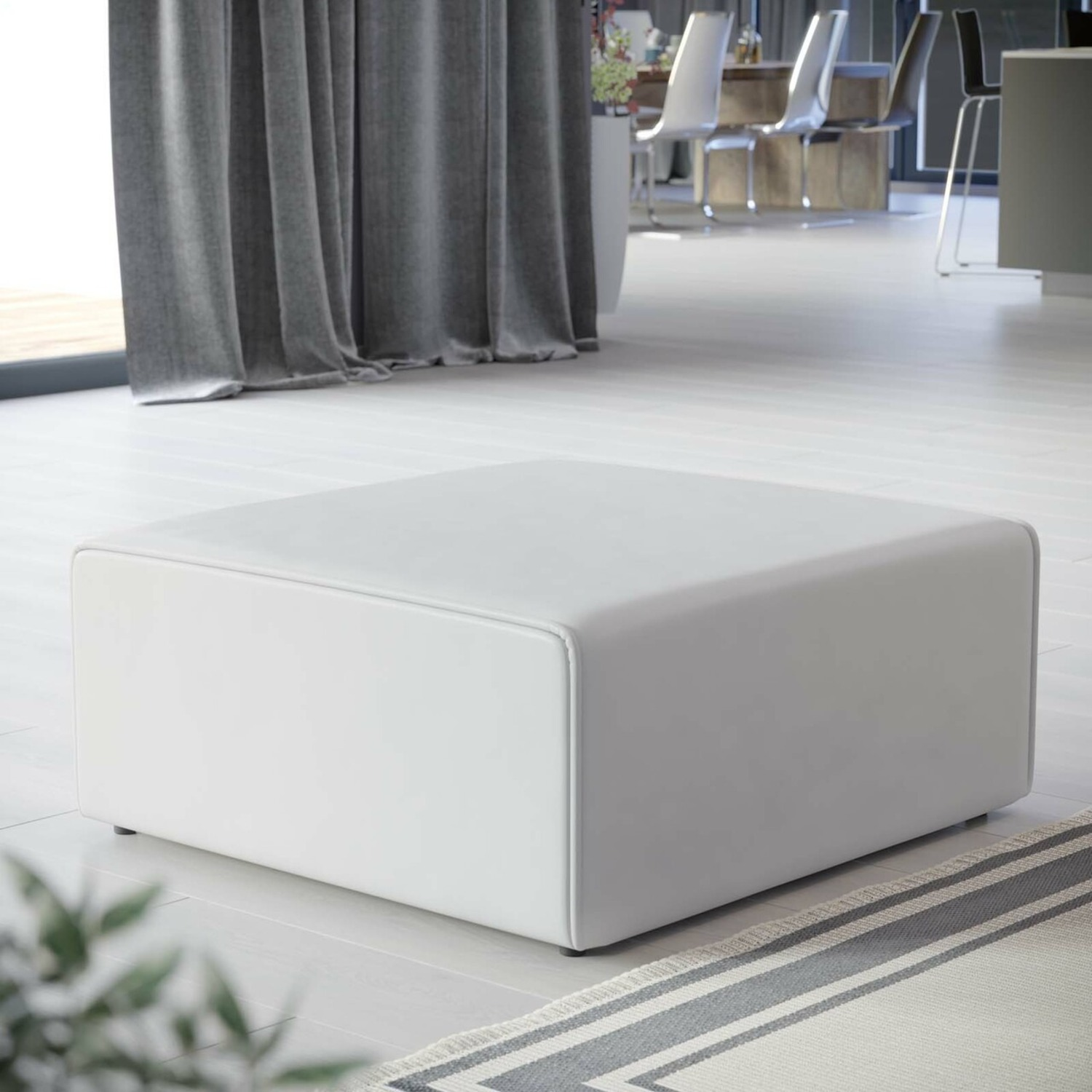 Ottoman In White Vegan Leather Upholstery - image-6