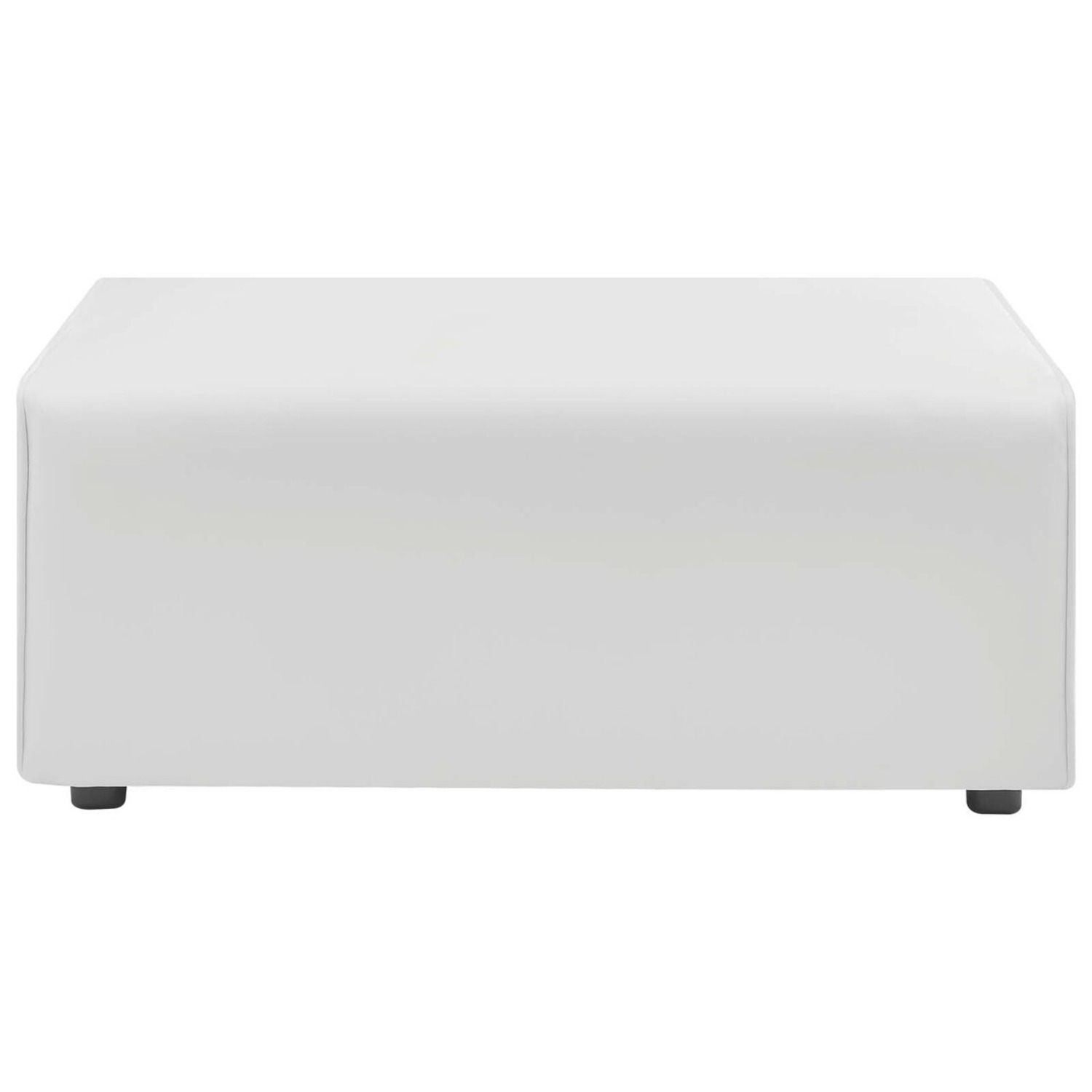 Ottoman In White Vegan Leather Upholstery - image-1