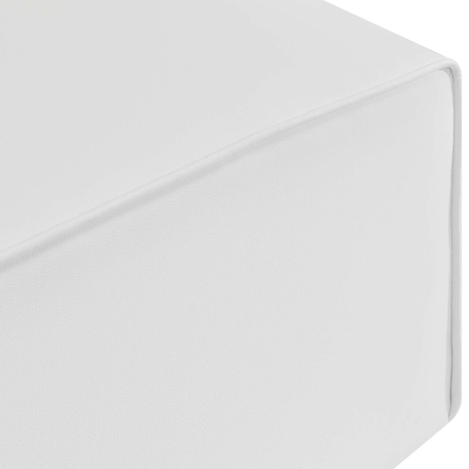 Ottoman In White Vegan Leather Upholstery - image-3