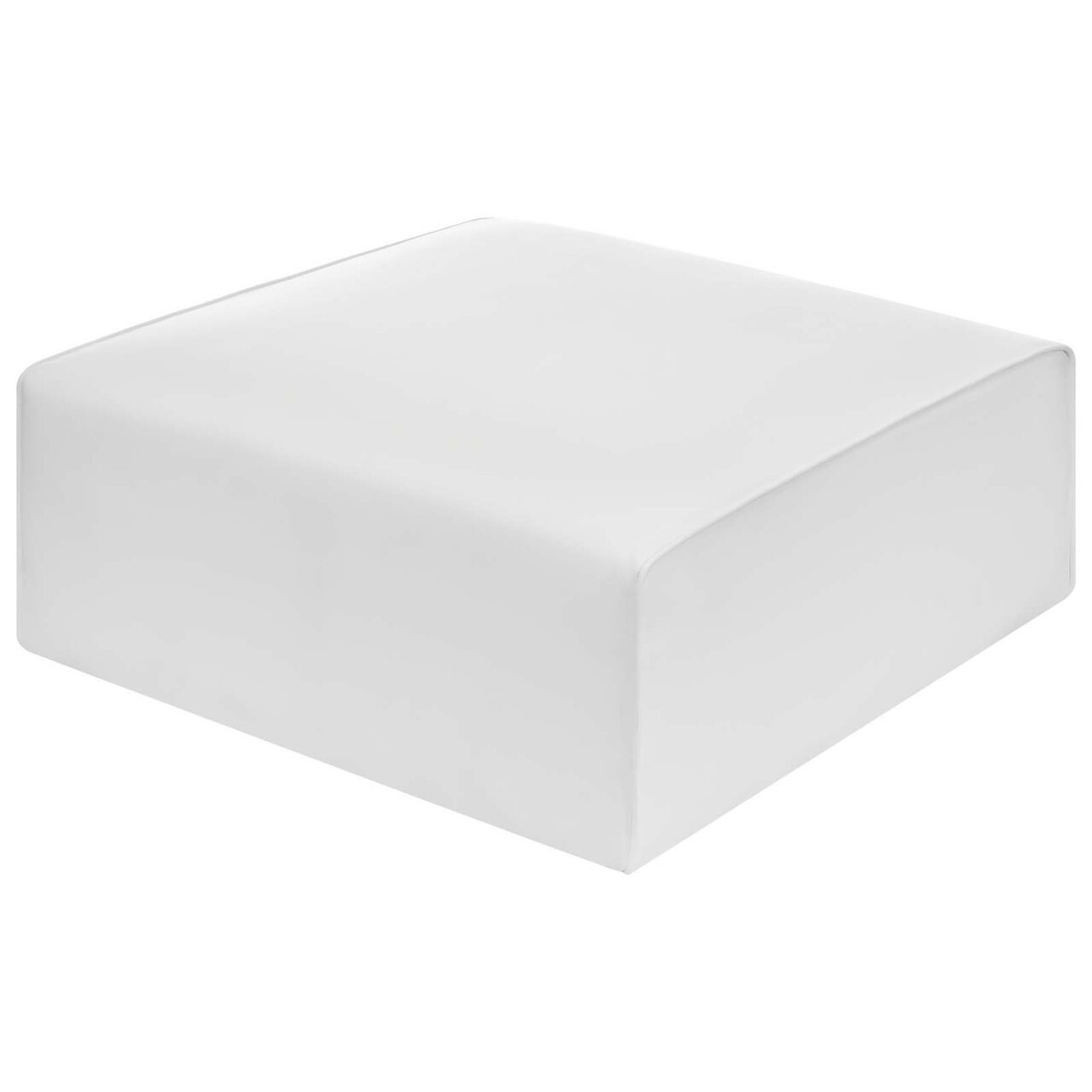 Ottoman In White Vegan Leather Upholstery - image-2