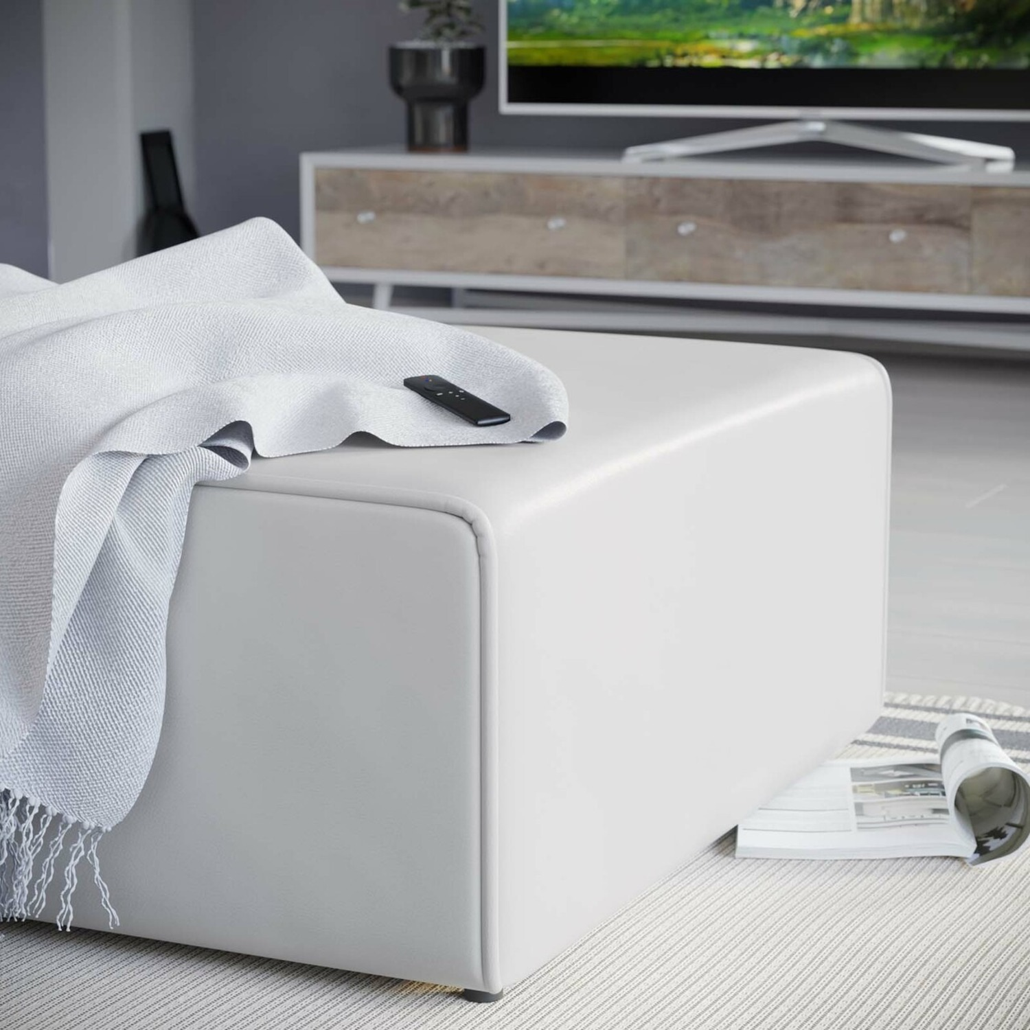 Ottoman In White Vegan Leather Upholstery - image-4